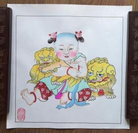手工填色杨柳青年画:《天师少帅》
