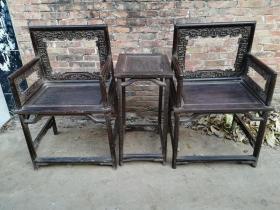 清代紫檀玫瑰椅老家具木器