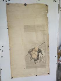 约民国时期  无款人物画  布袋和尚  尺寸120x65