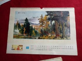 懷舊收藏年掛歷單張七 十年代《 林層千月》53*38cm