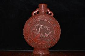 清代漆器雕刻花瓶一对摆件