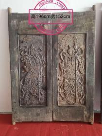 清朝,门板雕刻门神,寓意吉祥,招财避邪,保存完好,收藏装修佳品!