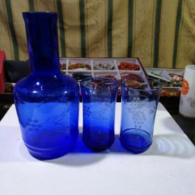 晶屋牌 老红酒瓶+两酒杯