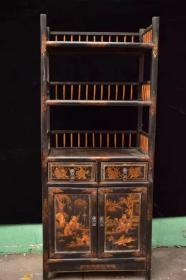 木胎描金漆器书架