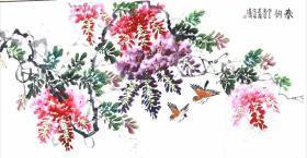 保真,江苏省美协会员,傅抱石大师弟子,国家一级画师,丁惠兴先生,纯手绘花鸟真迹。                      尺寸,135*65厘米,画芯,特价酬宾。