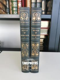 Moby Dick or the whale《白鲸》 melville 赫尔曼·梅尔维尔经典  franklin library 1980年出版,此为25周年版, rockwell kent 配图的经典版本  真皮精装 全两卷