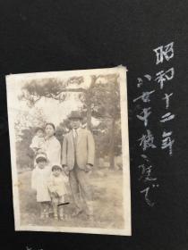 1937年日本家庭五口之家家庭合影老照片
