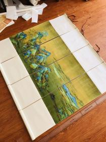 千里江山图四条屏版二 画心30*60厘米,四条屏。高度做120厘米。丝绸裱褙。挂轴。现货