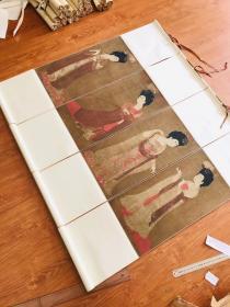 簪花仕女图四条屏 画心30*60厘米,四条屏。高度做120厘米。丝绸裱褙。挂轴。现货