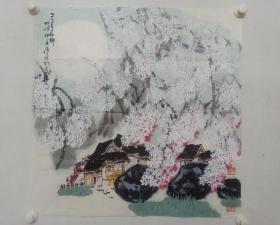 保真书画,张广俊精美山水画一幅,尺寸68×68cm,当代国画名家。