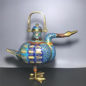铜景泰蓝鎏金壶
