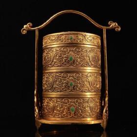 宫廷御用纯手工雕刻鎏金食盒 高26厘米  宽21厘米  重2956克