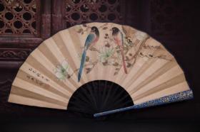 犀皮漆扇骨手绘纸折扇 长33cm    宽3.5cm   扇面展开62cm