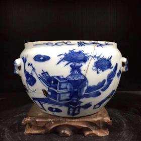 5清供图 青花博古纹粥罐