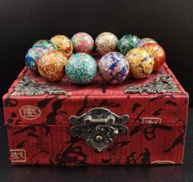 中国非遗纯手工大漆珠:《紫光檀木珠胚加大漆多宝手串》2.1*12颗,69.6g