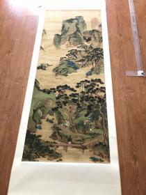 仇英 玉洞仙源精裱挂轴。图画心尺寸65.5*169厘米。宣纸艺术微喷制作。丝绸覆背,正面素绫精裱,成品尺寸78*225厘米。高端大气。现货。