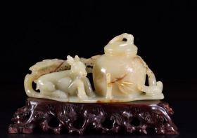 清 和田玉福禄寿喜摆件 长19.5厘米.宽7.1厘米.高9.8厘米.重649.2克