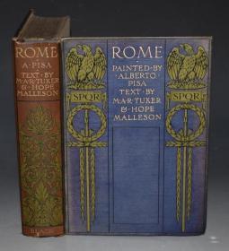 1905年 Alberto Pisa _ ROME 水彩画绘本《罗马图志》70张绝美彩色插图 彩绘布面烫金精装大开本