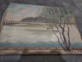 50年代油画一幅 有作者签名