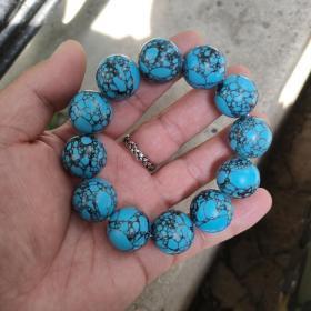 天然绿松石手串,乌兰花绿松石20mm,一百多克,详情看图