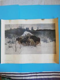 1961苏联原版油画驯鹿.长67.5宽46.6厘米【莫斯科真理出版社】