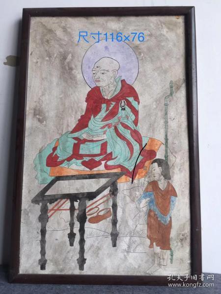 老墙皮画 古代 老寺庙  后装裱的画框。尺寸:116×76