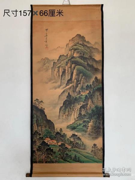 近代名家黄均手绘山水立轴画,画工精细,气势磅礴,品相完好