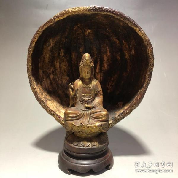葫蘆漆器坐蓮花座觀音擺件長18厘米,寬11厘米,高22厘米重354克