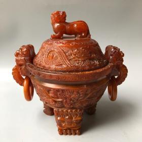 牛角兽双环龙香炉长21厘米,宽15厘米,高22厘米重1170克