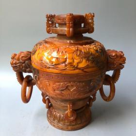 牛角双环兽香炉长27厘米,宽18.8厘米,高30厘米重2670克