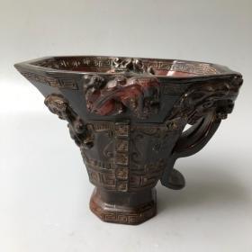 牛角八角螭龙杯长16厘米,宽12.5厘米,高13厘米