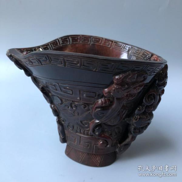 牛角螭龙兽面杯长16厘米,宽13.5厘米,高13.5厘米