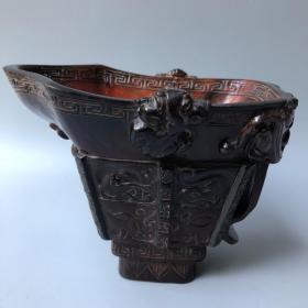 牛角兽面杯长17厘米,宽11厘米,高13厘米