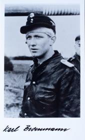 二战德国虎王坦克王牌卡尔·鲍曼签名照