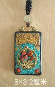 红木镶嵌铜鎏金,松石,南红玛瑙等项链挂牌。