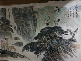 著名连环画家罗希贤画<松鹤泉鹿图>尺寸104X69Cm