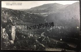 【影像资料】民国苏州风光建筑明信片_远望灵岩山和天平山及周边景象,右下角有一游客正行走在山路古道上,画面古朴、少见难得