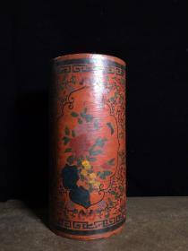 漆器画筒,高30.5厘米