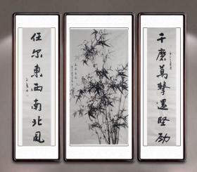 【全网独家授权代理】中书协会员、书法名家赵自清中堂力作:高风亮节+对联
