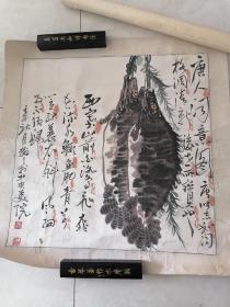 """娄建国 """"唐人词意图"""" 鳜鱼肥 尺寸约66x66,原装裱 作品保真"""