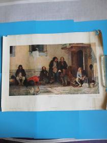 1955苏联原版油画吃饭的农民长61宽46.5厘米【莫斯科真理出版社】