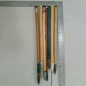 旧毛笔7支合售,〈有使用,请要求严格者,慎购。,有两支早期北京湖笔店