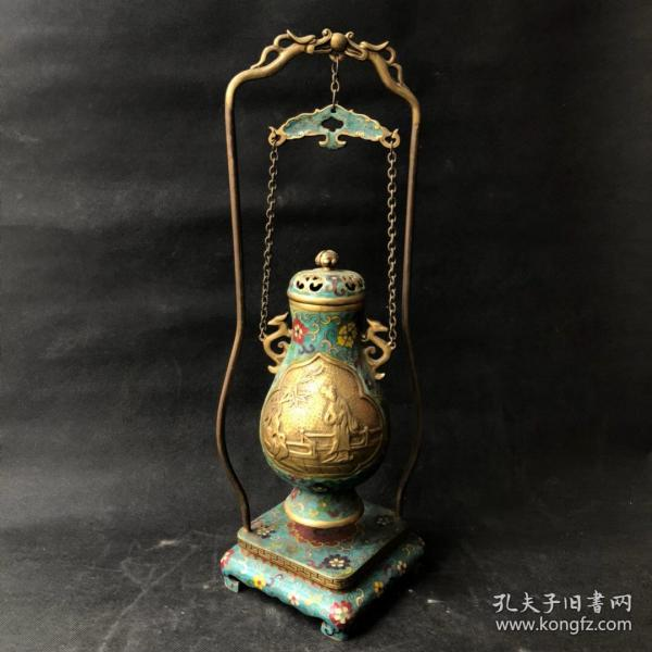 旧藏掐丝珐琅架子吊薰香炉,长22.5厘米,宽22.5厘米,高53.5厘米,重3930克