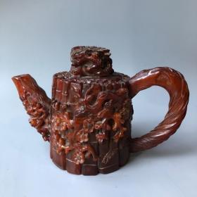 牛角《松竹梅》酒壶长25厘米,宽12厘米,高17厘米重1310克