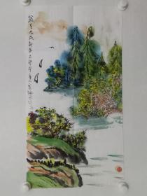 保真书画,不染堂主人寄枫《山水画》一幅,尺寸69.5+37cm,简介不清楚,不知道是哪个地域性名家作品,惠价80元包邮