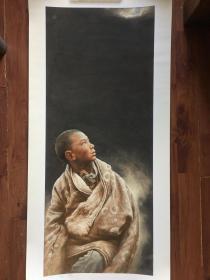 著名油画家范一鸣2014年精品 西藏人物 版画 亲笔签名 99幅之第7幅