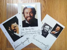 """""""世界三大男高音之一""""帕瓦罗蒂(Luciano Pavarotti)93及96年亲笔签名册页三件"""