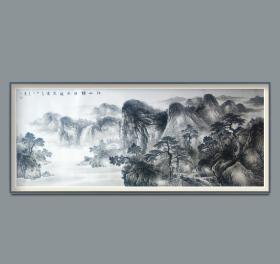 中美协会员,山东美协理事王玉山小八尺巨幅水墨山水精品,有合影