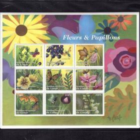 刚果2001年 兰花 蝴蝶 蜜蜂 蜻蜓 邮票小版张全新