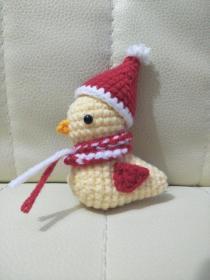 钩针玩偶成品 可爱的圣诞节小鸟